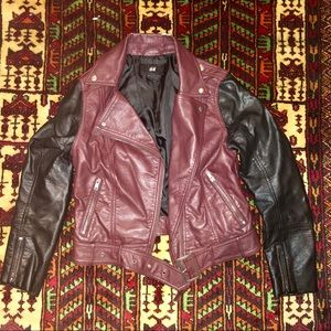 Motorcycle cut faux leather jacket